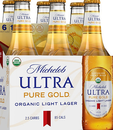Michelob Ultra Organic Pure Gold 6 Pack Bottles
