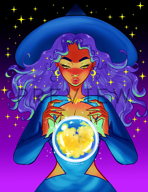 Magic Crystal Ball Witch ♥ Print