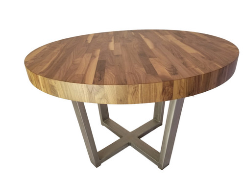 Beautiful This Beautiful Hand Built Round Table Is Made From High Quality Walnut Wood  And Steel. The Steel Has A Brushed Finish As Pictured. Other Metal Color  Options ...