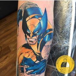 wolverine, tattoo, marvel, colour,
