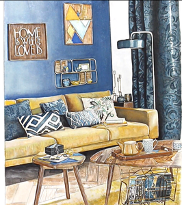 color starter, interior watercolor rendering, architectural painting, architectural rendering