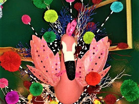 And a flamingo in a white tree...