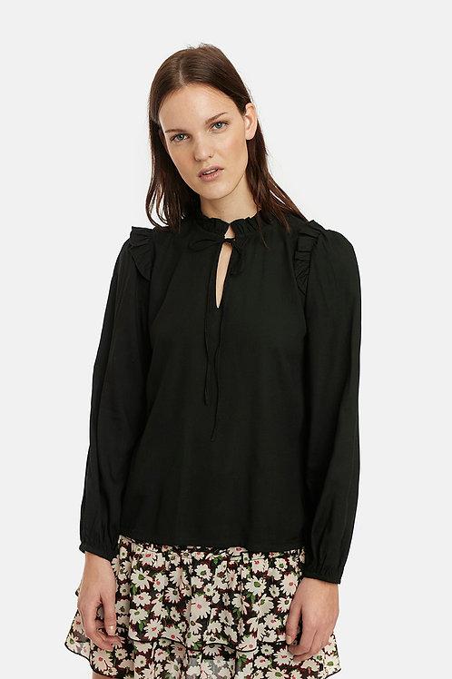 Camicia nera con collo vittoriano