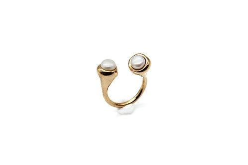 Anello bronzo con perle
