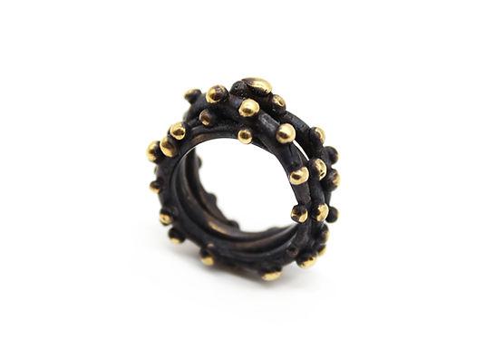 Anello fascia oro nero