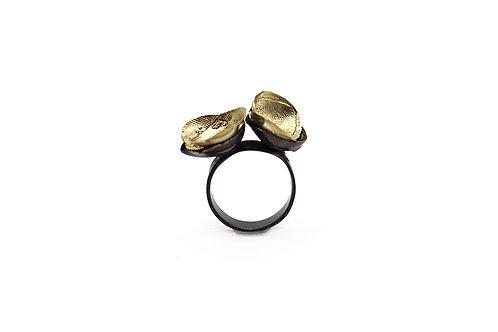 Anello texture nero e oro