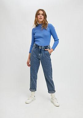 Jeans vita alta blu