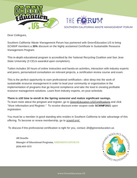 Southern California Waste Management Forum has partnered with GreenEducation.US