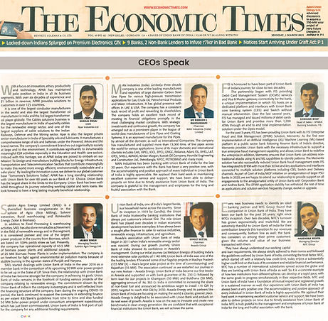 featured article in The Economic Times