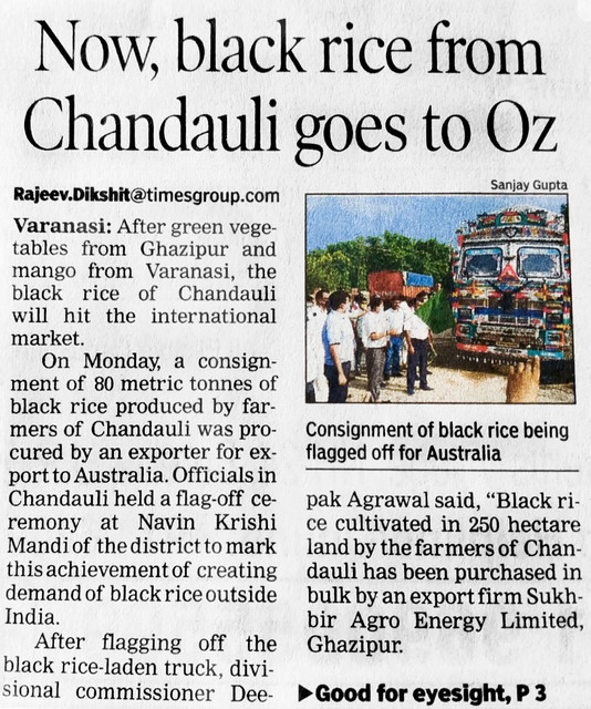 Black Rice From Chandauli goes to OZ
