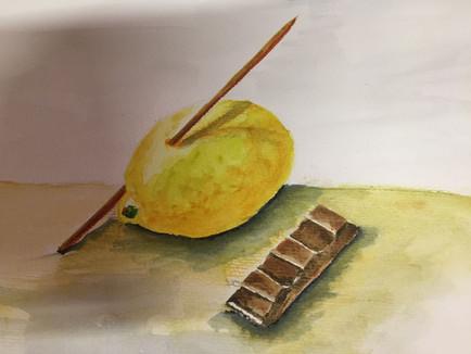 Aquarell malerei Zitrone