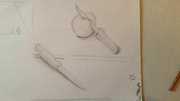 zeichnung skizze apfel messer bleistift.