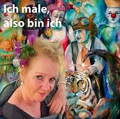 Beate Koslowski, Malerin, vor ihrem Bild , Bild zeigt Tiger, Gaukler, Clowns, Tänzerinnen