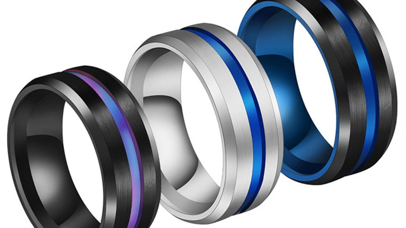 Ring Black Titanium Jewelry 8MM Rainbow Groove Rings Stainless Steel