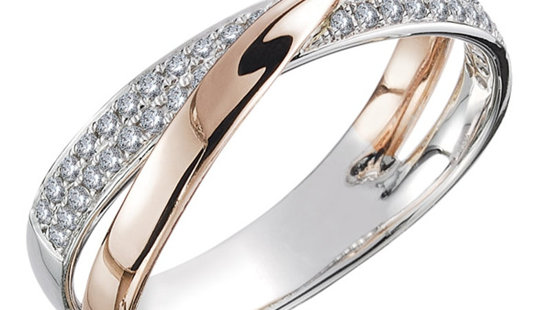 Two Tone X Shape Cross Ring for Women Dazzling CZ Stone Large Modern Rings