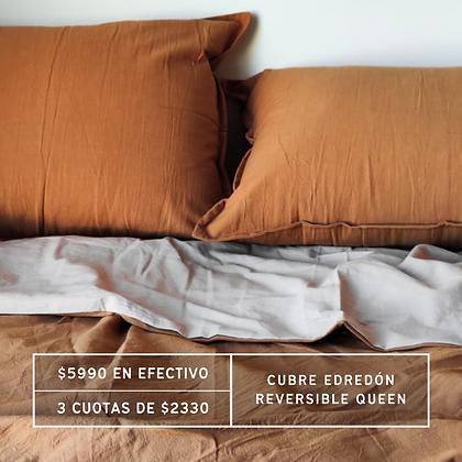 PROMO: Cubre Edredón Queen Canela + Gris Perla