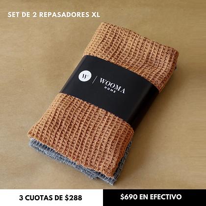 Pack x2 Repasadores XL 50x50cm Canela + Gris