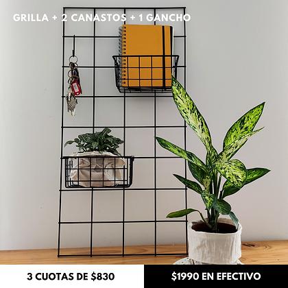Grilla Metálica 80x40 + 2 Canastos + 1 gancho