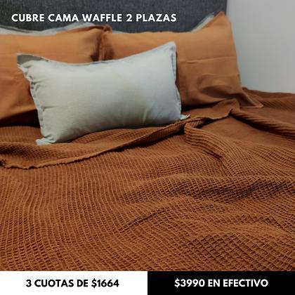 Cubre Cama Waffle Canela