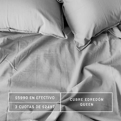 PROMO: Cubre Edredón Queen Gris Perla