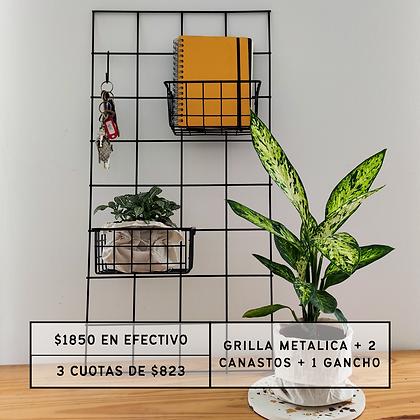 PROMO: Grilla Metálica 80x40 + 2 Canastos + 1 gancho