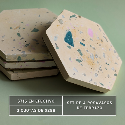 PROMO: Posavasos x4 Terrazo Hexagonal