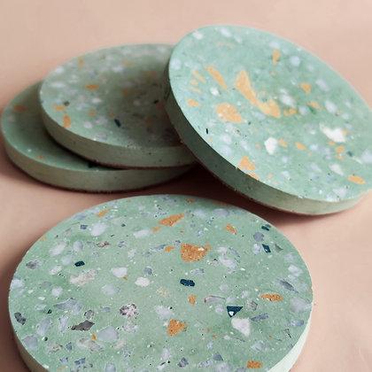 Posavasos x4 Terrazo - Circular Mint