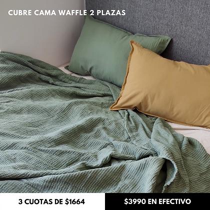 Cubre Cama Waffle Verde Seco