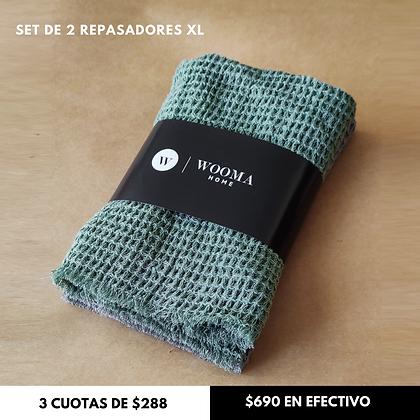 Pack x2 Repasadores XL 50x50cm Verde + Gris