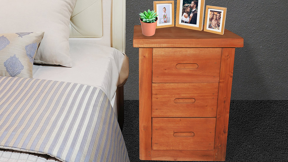Bedside Table (3 drawers, Brown)