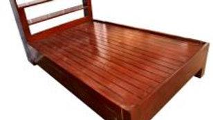 NEW Queen Bed w/ Headboard Shelves (Brown)