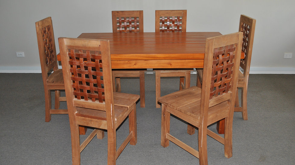 Dining 7-piece All Wood Set (Brown, Lattice back chair)