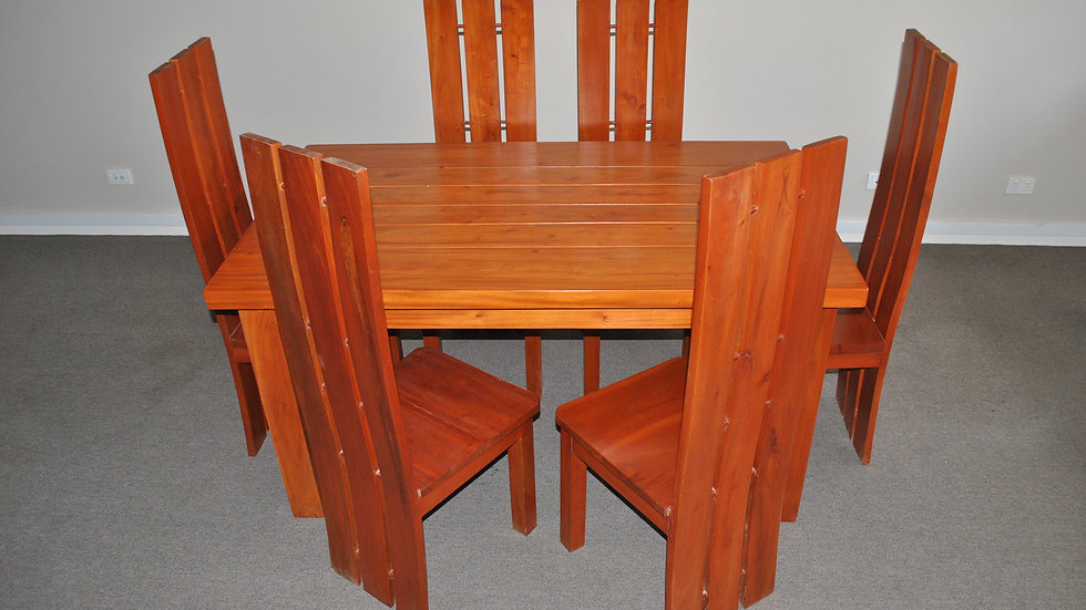 Dining 7-piece All Wood Set (Brown, 3 prong chair)