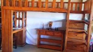 NEW High Bed w/ Table, Drawers + Steps (Brown)