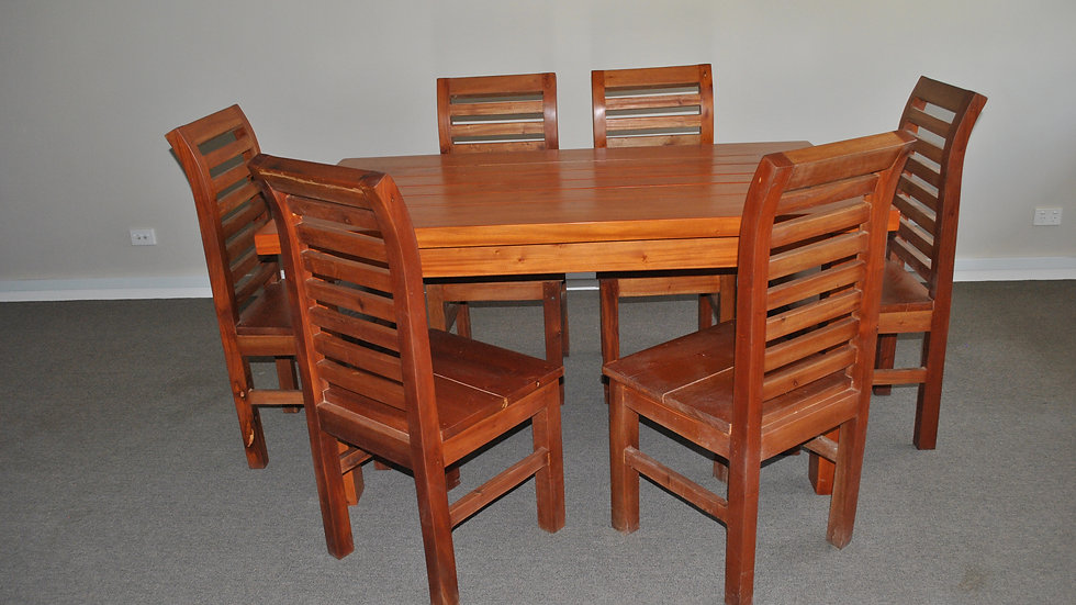 Dining 7-piece All Wood Set (Brown, horizontal slat chair)