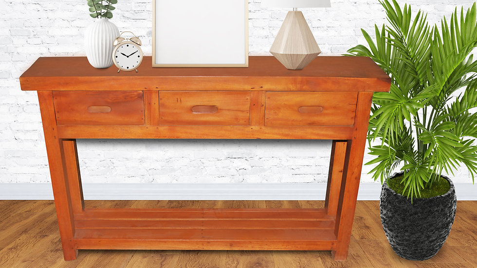 Console w/ 3 Drawers (Brown)