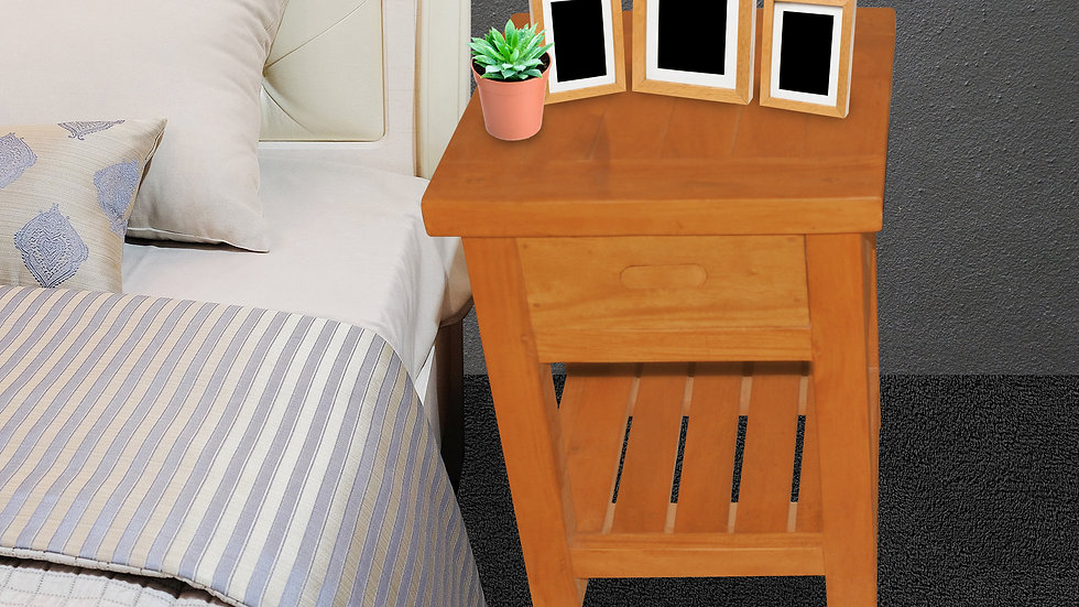 Bedside Table (One drawer, Brown)