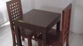 Dining Set 3-piece (Brown, Lattice chair)