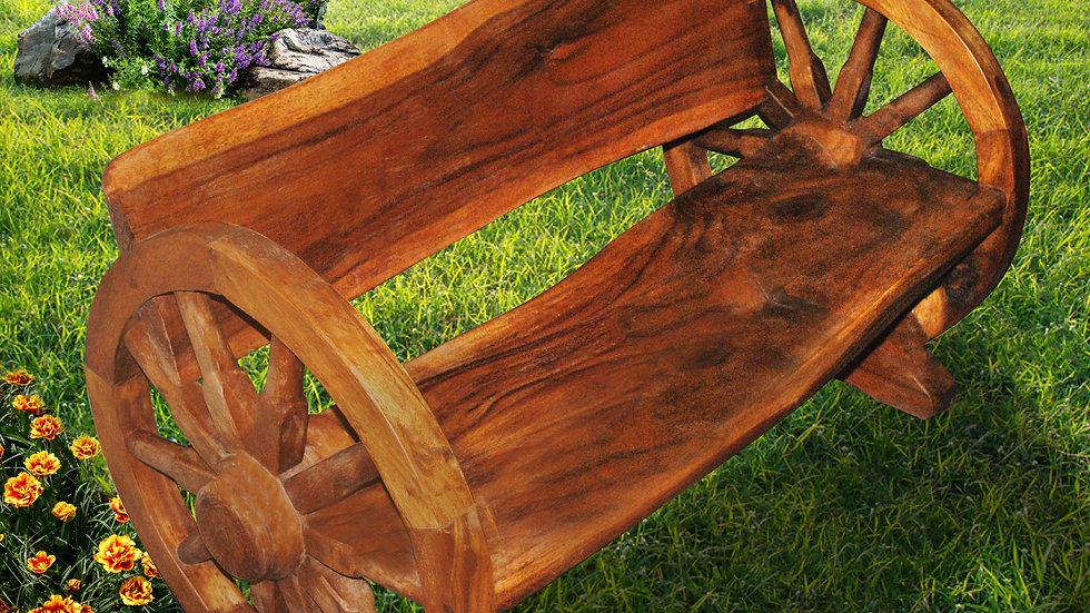 Rustic Wheel Bench