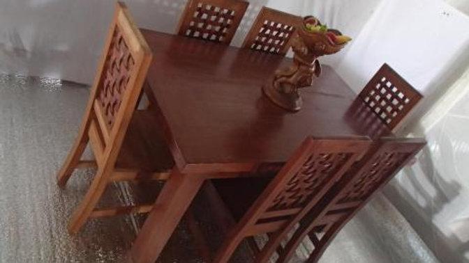 Dining Set 7-piece (Brown, Lattice chair)