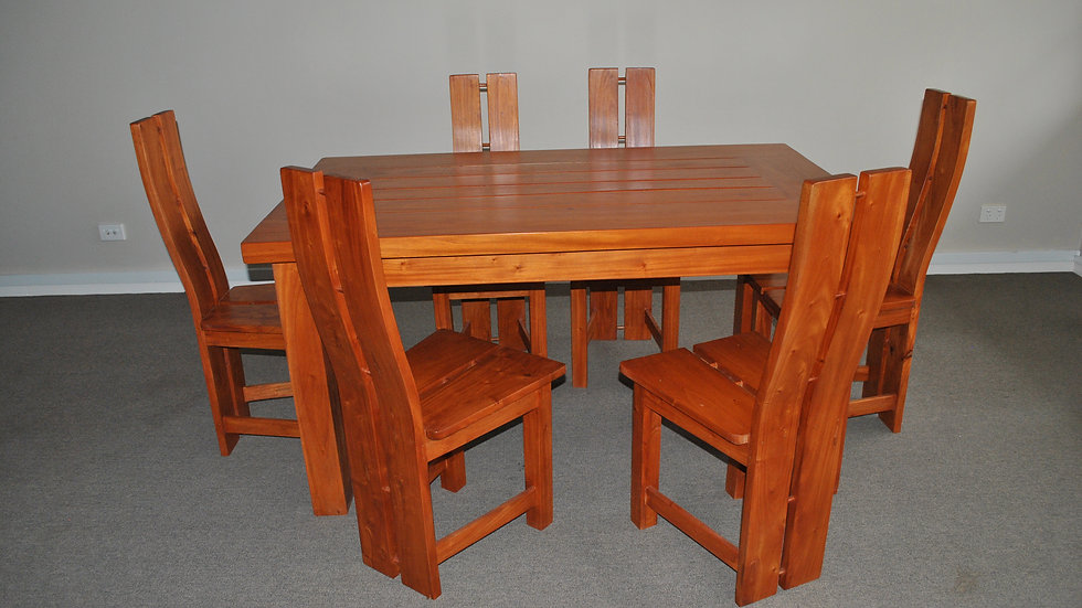 Dining 7-piece All Wood Set (Brown, 2 prong chair)