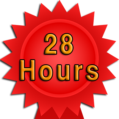 28 Hour booking and test fee