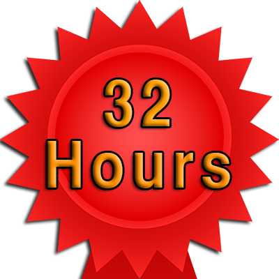 32 Hour booking and test fee