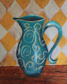 Vase on diamond background