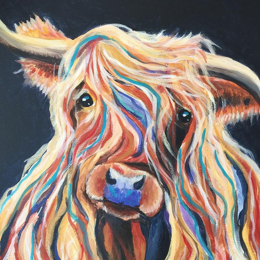 Highland Cow @ Paint Pinot Studio 1- Braddon, Canberra