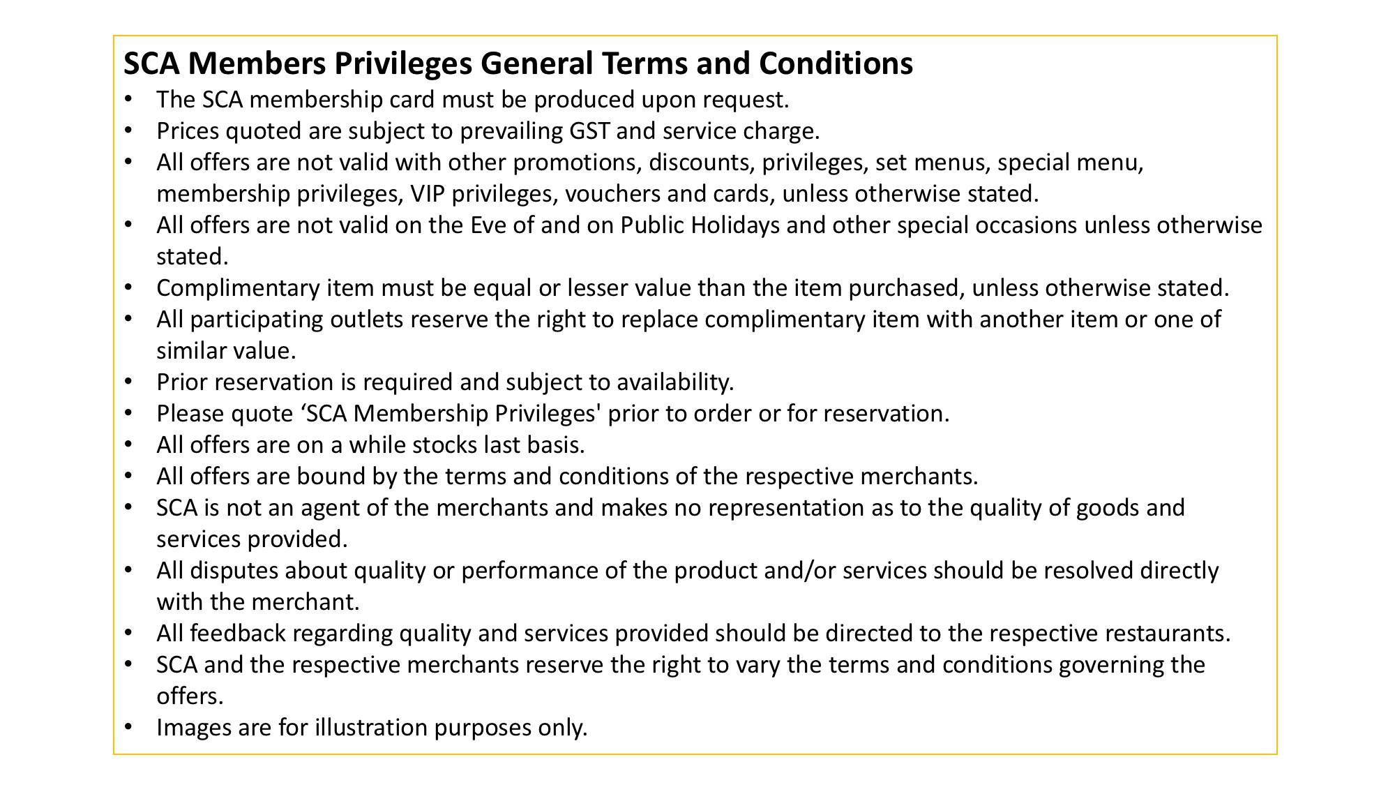 SCA Privileges General Terms & Condi