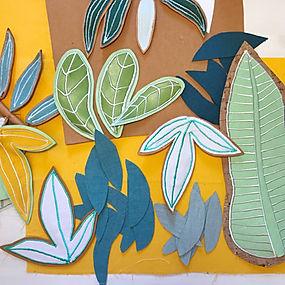 Decorations murales brodées feuilles brodées main textile francais savoir faire artisanat francais