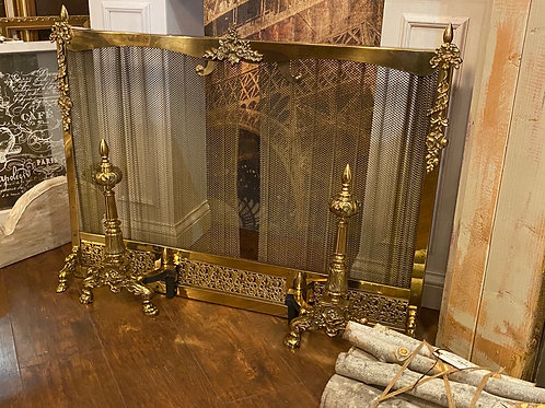 Fireplace Screen and Andirons