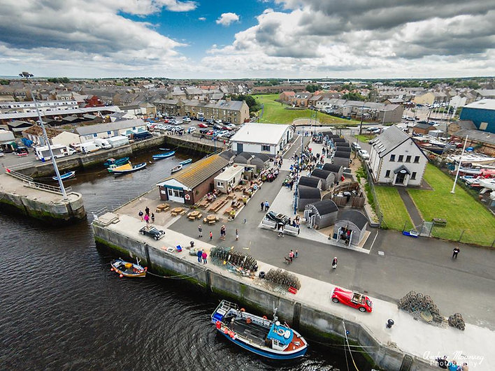 Aerial view of Amble Harbour Village