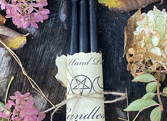 """3 pack Black Taper Candles 10"""""""